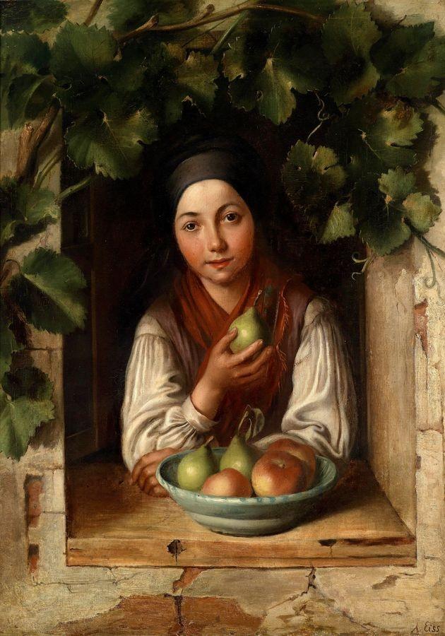 XV-102 Alois Eiss - Dívka v okně s vinnou révou
