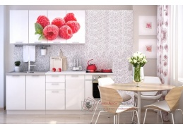 VALERIA ART, kuchyně 160cm, bílá / bílý lesk / Raspberry