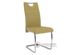 ABIRA NEW, jídelní židle, chrom / látka zelená
