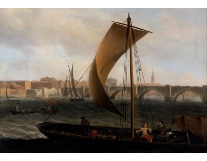 Slavné obrazy XIV-97 Samuel Scott - Pohlad na Temži a Westminsterský most