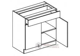 MORENO, dolní skříňka se zásuvkou D80/S1, bílá / dub sonoma / skořicová akácie
