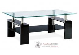 AF-1024 BK, konferenční stolek, černý lesk / čiré + černé sklo
