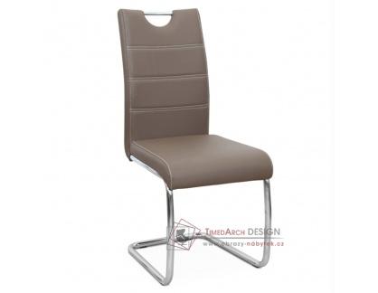 ABIRA NEW, jídelní židle, chrom / ekokůže hnědá