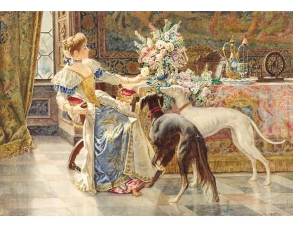 Slavné obrazy XVI-304 Belisario Gioja - Dáma se svými psy