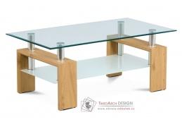 AF-1024 OAK, konferenční stolek, divoký dub / čiré sklo