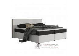 NOVARA KOMFORT, postel 180x200cm, ekokůže bílá / látka černá