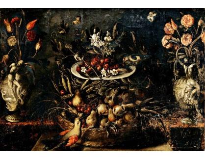Krásné obrazy VI-106 Neznámý autor - Zátiší s květinami a ovocem