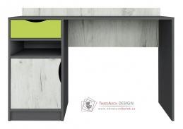 DISNEY, psací stůl, dub kraft bílý / šedý grafit / limeta