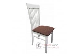 ASTRO NEW, jídelní židle, bílá / látka hnědá