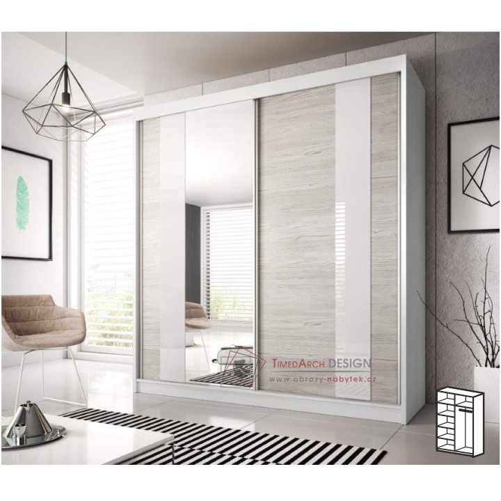Skříň s posuvnými dveřmi 183cm MULTI 32 bílá / dub kathult světlý