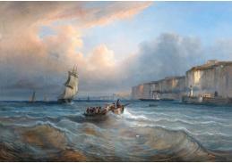 D-9494 Jean Marie Auguste Jugelet - Lodě před přístavem Dieppe