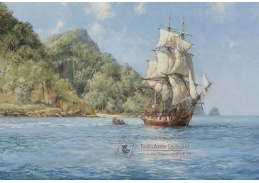 Slavné obrazy IX 129 Neznámý autor - Plachetnice u pobřeží