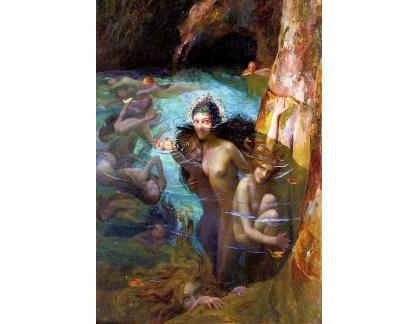 Slavné obrazy XVII-215 Gaston Bussiere - Mořské nymfy v jeskyni