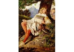 Krásné obrazy V-107 Ottokar Walter Wien - Ptáčník sedící pod stromem
