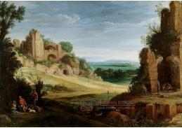 Slavné obrazy II-DDSO-325 Paul Bril - Skalnatá krajina s lovci poblíž římské ruiny