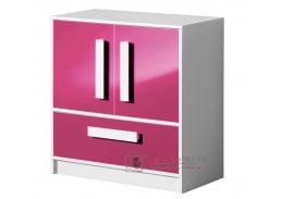 GULLIWER 08, komoda nízká, bílá / růžový lesk / bílá