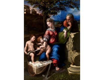 VR11-17 Rafael Santi - Svatá rodina s Janem Křtitelem pod dubem