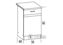 ELIZA, dolní skříňka 1-dveřová EZ13/D50, výběr provedení