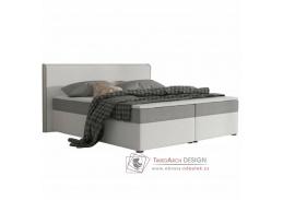 NOVARA MEGAKOMFORT VISCO, postel 180x200cm, ekokůže bílá / látka šedá