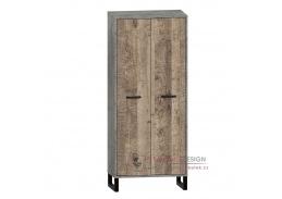 BARI, skříň šatní 2-dveřová 2D-90, šedá / dub pískový