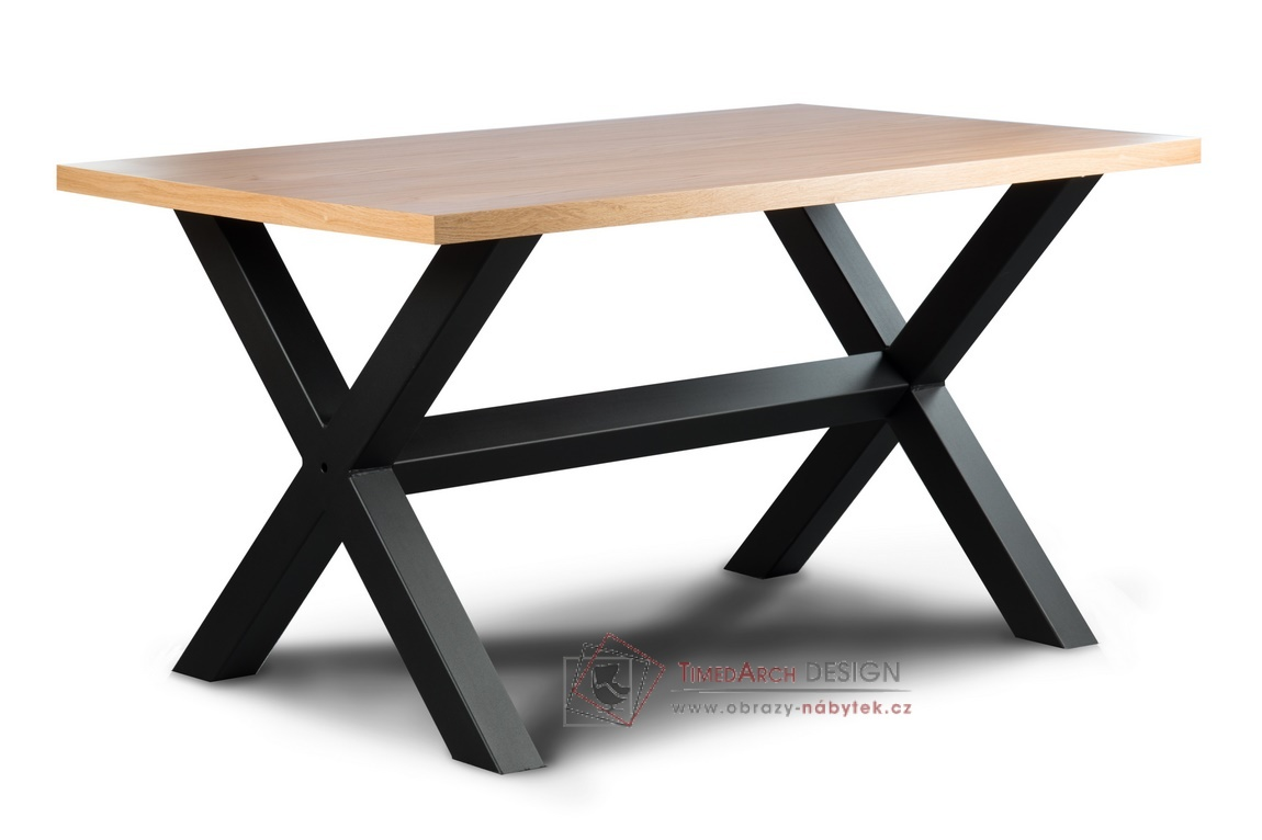 Jídelní stůl LOFT L2 IX černý kov / barva dub