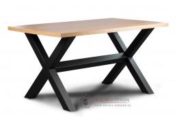 LOFT L2 IX, jídelní stůl, černá / dub