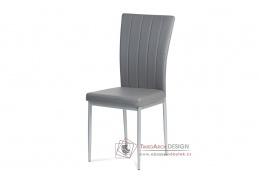 AC-1287 GREY, jídelní židle, šedý lak / ekokůže šedá