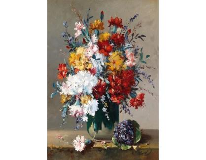 Slavné obrazy XVII-26 Eugene Henri Cauchois - Kytice fialek