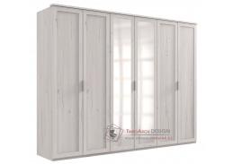 MARGITA 567, šatní skříň 6-ti dveřová 270cm, dub bílý