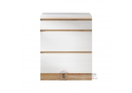 LINE, dolní skříňka 3-zásuvková D60 3, dub sonoma / bílý lesk