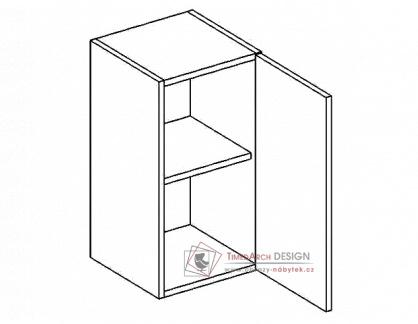 Horní skříňka jednodvéřová W40P PREMIUM de LUX hruška - pravá
