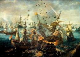 VL10 Cornelis Claesz van Wieringen - Exploze španělské vlajkové lodi během bitvy u Gibraltaru 25 dubna 1607