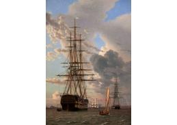 Slavné obrazy VII-67 Christoffer Wilhelm Eckersberg - Ruská válečná loď Assow a fregata