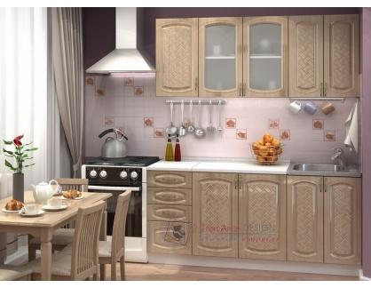CITY, kuchyně 180cm  bílá / Anigre lesk