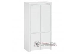 LINDY, skříň šatní 4-dveřová 106cm 4D, bílá / bílý lesk