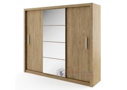IDEA 01, šatní skříň s posuvnými dveřmi 250cm, dub shetland / zrcadlo