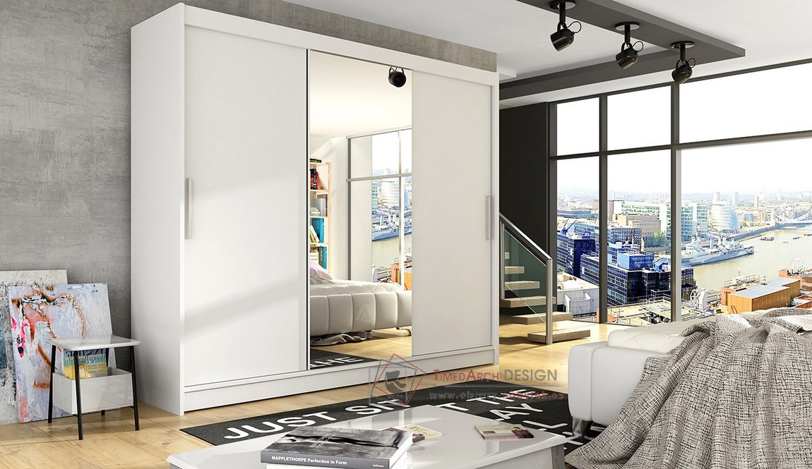 Šatní skříň s posuvnými dveřmi 250cm ASTON I bílá / zrcadlo