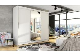 ASTON I, šatní skříň s posuvnými dveřmi 250cm, bílá / zrcadlo