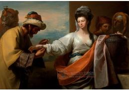 Slavné obrazy XI-104 Benjamin West - Sluha Isaac váže náramek na ruku Rebeccy