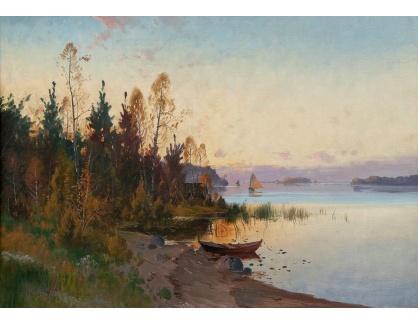 Slavné obrazy XVI-347 Cark Brandt - Západ slunce nad jezerem