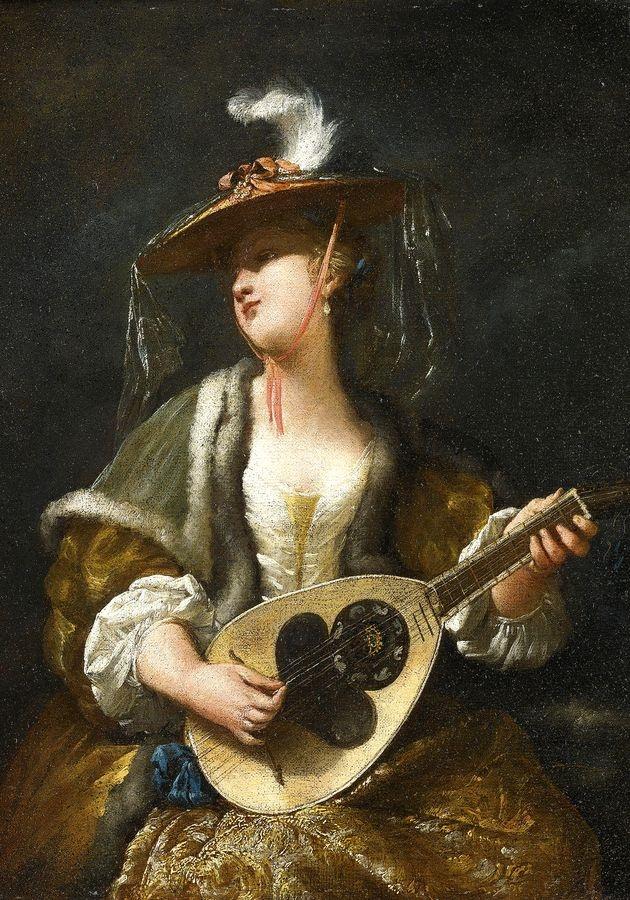 Krásné obrazy II-105 Jean Barbault - Žena hrající na mandolínu