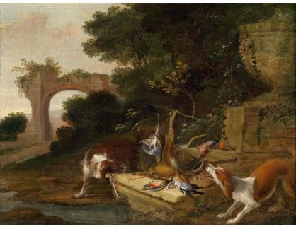 KO III-10 Adriaen de Gryeff - Lovečtí psi s úlovkem u pomníku