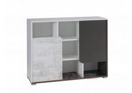 MATEL B05, komoda, bílá / šedý grafit / enigmata