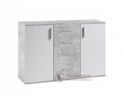 POPPY 5, komoda, bílá / beton