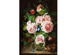 DDSO-1899 Anton Hartinger - Růže ve skleněné váze a motýl