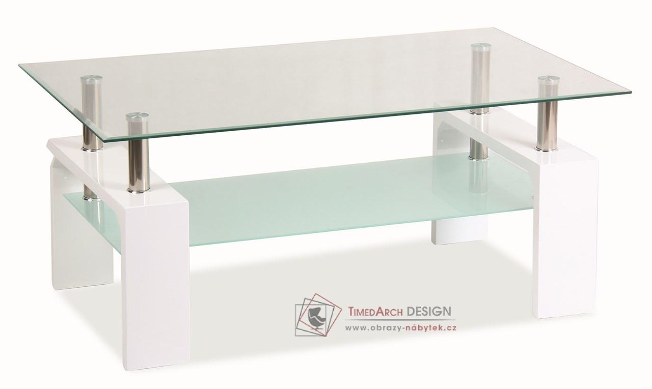 Konferenční stolek LISA BASIC bílý lak / sklo