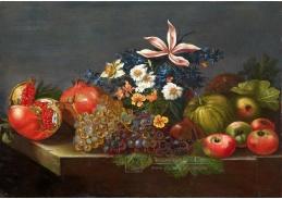 Krásné obrazy VI-107 Neznámý autor - Zátiší s květinami, granátovým jablkem a hrozny