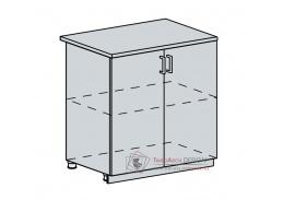 VERONA, dolní skříňka 2-dveřová 80D, bílá / jasan šimo