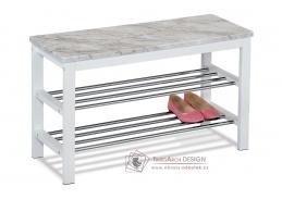 83168-03, botník - taburet, bílý lak / šedo-bílý mramor