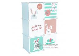 EDRIN, dětská modulární skříňka, modrá / dětský vzor